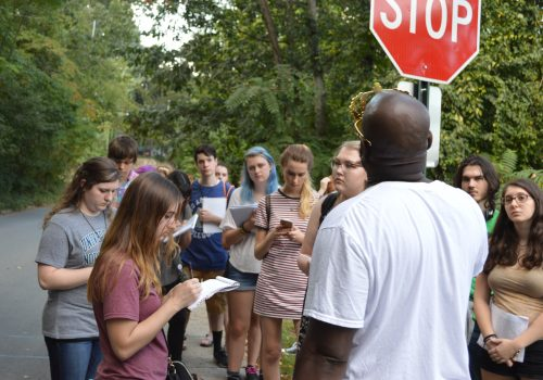 Community partner DeWayne Barton of Hood Huggers International has collaborated with UNC Asheville's writing program for several years to help faculty teach black Asheville history and art.
